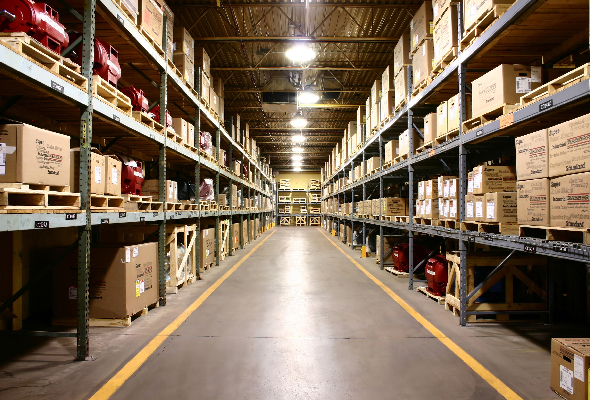 An industrial warehouse floor paint likely uses an epoxy floor coating anti-corrosive in nature.