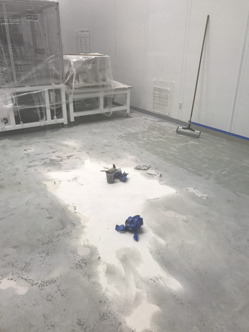 Stage 1 (Preparation) of a clean room epoxy application.