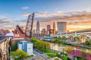 A skyline shot of Cleveland at Dusk. Epoxy Flooring Contractors in Ohio. Epoxy Flooring Cleveland Ohio