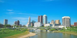 A wide angle view of Columbus, Ohio. For Columbus epoxy flooring, use Progressive.