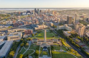 An aerial view of Kansas City, including the WWII memorial. For epoxy flooring Kansas City, trust Progressive.